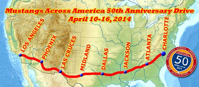 Mustangs Across America 50th Anniversary Drive - MAA 50th Anniversary Map